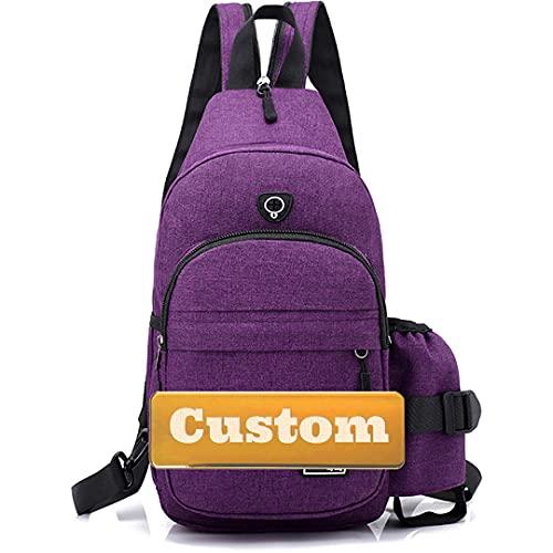JDQS Personalizado Nombre personalizado Organizador Menores sobre el hombro Sling Bag Sling con USB (Color : Purple, Size : One size)
