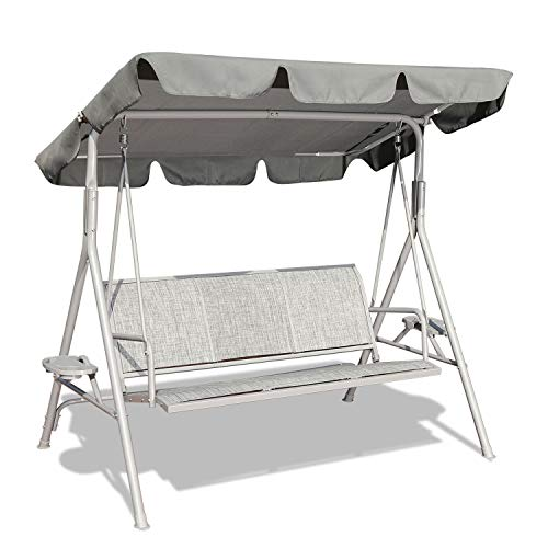 GOLDSUN 3-Person Outdoor Canopy Swing Seat with Stand,Swing Hammock Lounge Chair with Weather Resistant Powder Coated Steel Frame and Adjustable Canopy for Garden Patio Porch Poolside Backyard(Grey)