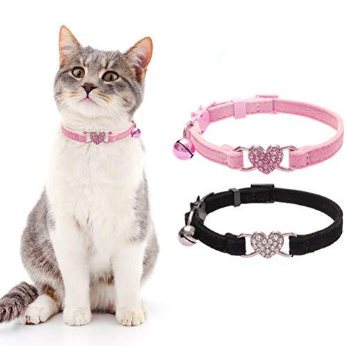 BINGPET 2 STK Katze Kragen Herz Bling Breakaway mit Bell Soft Velvet sicher verstellbar Kaetzchen Kragen