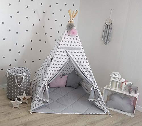 TS Tipi Teepee - Juego de 4 accesorios de tienda de campaña para niños, tienda india, cojín y manta, 14 colores (gris y blanco)