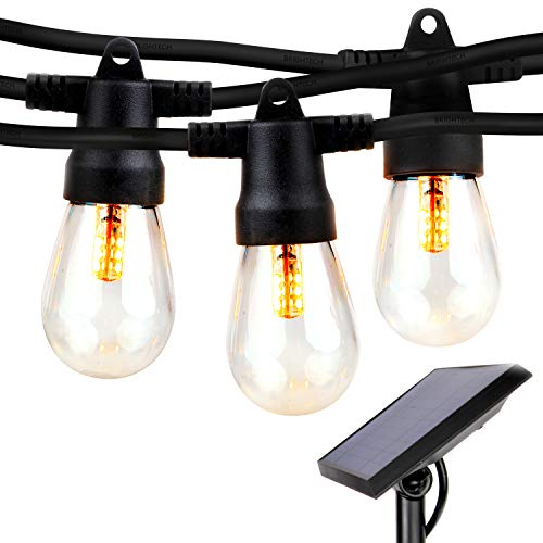 Brightech Ambience Pro - Waterproof Solar LED Outdoor String Lights - Hanging 2W Vintage Edison Bulbs - 27 Ft Commercial Grade Market Lights Create Bistro Ambience On Your Deck, Pergola, Porch