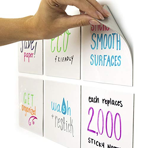 mcSquares Stickies 5x5 Dry-Erase Sticky Notes   6-Pack Reusable White Board Stickers with Included Smudge-Free Wet Erase Tackie Marker   Made in The USA -  MCST-01-6PK