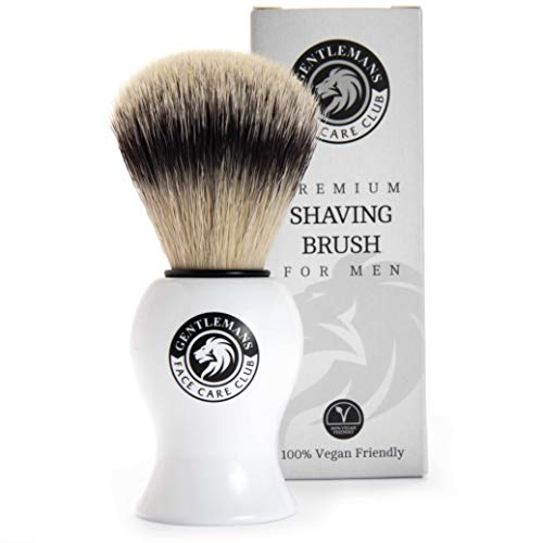 Vegan Friendly Shaving Brush - Gentleman's Face Care Club Badger Friendly Shave Brush for Shaving Cream, Foam Or Soap No Bristle Loss Promise