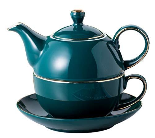 Jusalpha Dark Turquoise Green Fine China 16 OZ Teapot- Tea cup- Saucer Set, Tea-for-One set #08
