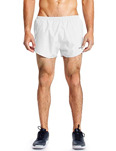 BALEAF Men's 3 Inches Running Shorts Quick Dry Gym Athletic Shorts White Size L