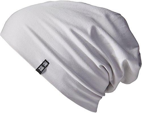 Enter the Complex® Leichte Jersey Mütze, Damen und Herren, Slouch Beanie aus Baumwolle, Elastisch, L/XL, Grau