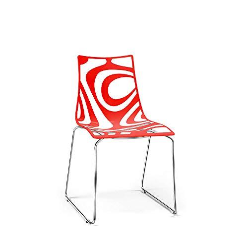 Scab Set 2 Design Wave Chaise Pied traîneau Rouge-Transparent
