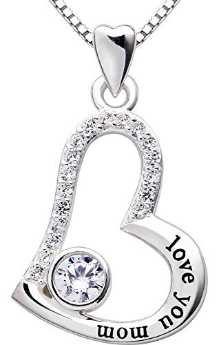 ALOV Jewelry Sterling Silver Love You mom Love Heart Cubic Zirconia Mother Pendant Necklace