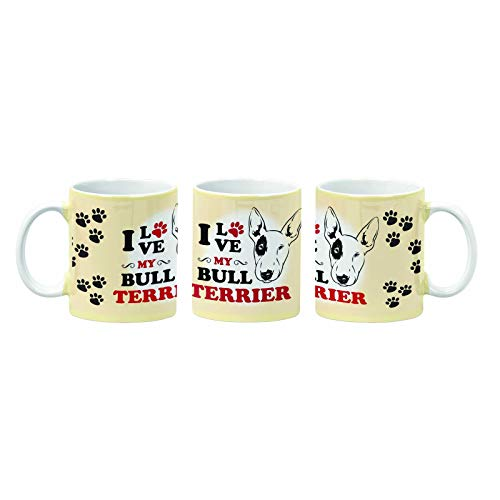 Juego de taza y posavasos a juego con texto 'I Love My Bull Terrier'