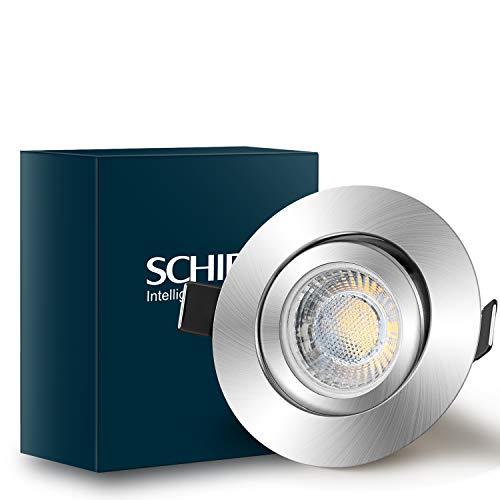 SCHIELE LED Einbaustrahler Dimmbar Rund Metall matt nickel inkl. 6 x 7W 230V 700Lumen Warmweiß Einbauspots Set Ersatz für 60W Deckenspot Einbauleuchte