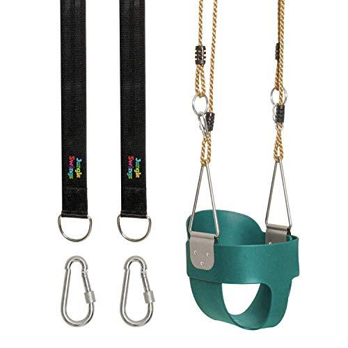 Jungle Swings Full Bucket Swing – Baby Swing Outdoor Includes 2 Rope Straps, 2 M8 Carabiners for Your Swingset – Child Swing Kids and Baby Swing Set for Kids 6 Months and up