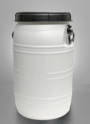 BAUPROFI Weithals-Fass 70 Liter weiß/transparent mit Deckel & 2 Griffen (lebensmittelecht)