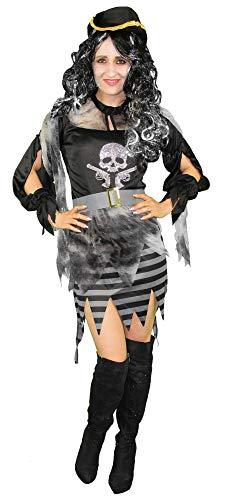 Foxxeo Geister Piraten Kostüm mit Piratenhut für Mädchen und Damen Fasching Karneval Halloween Größe 146-152