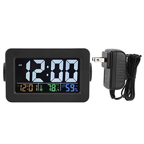 zcyg Reloj electrónico, despertador electrónico con indicador de humedad de temperatura, puerto de carga de control de luz