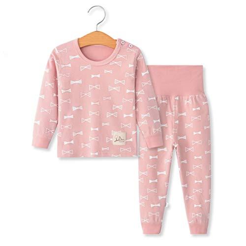 YANWANG 100% Cotone delle Ragazze dei Neonati Pajamas Set Manica Lunga Sleepwear (6M-5Anni) (Tag55 (12-24 Mesi), Reticolo 8(Vita Alta))