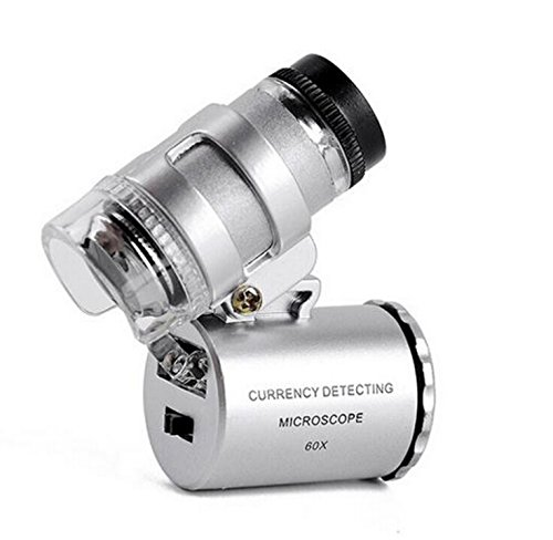 Microscopio Lupa de microscopio 60 X Magnifier de Jeweler LED Light de Magnification Magnifier Magnifying Glass with UV Light