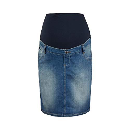 2HEARTS Umstands-Jeansrock We Love Basics - Umstandsmode Damen - Schwangerschafts-Rock in Used-Optik - mit Bauchband & Stretch-Anteil- blau
