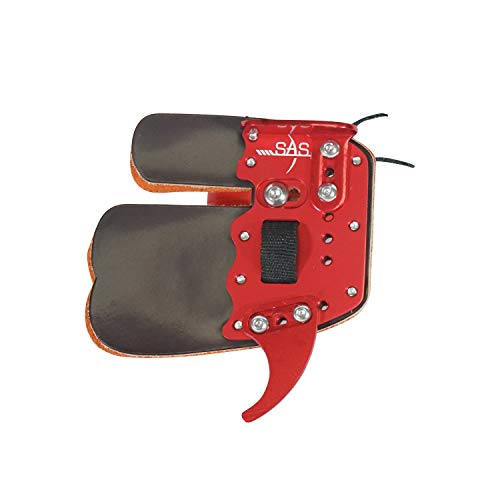 SAS Elite Aluminum Suede and Leather Finger Tab (Red, Small)