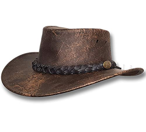 Oztrala HAT Australian Leather Cowboy Distressed Stone-Washed Outback Walkabout Mens Womens Aussie Brown Western Bush HLE1 US (XX - 7 7/8-63cm)