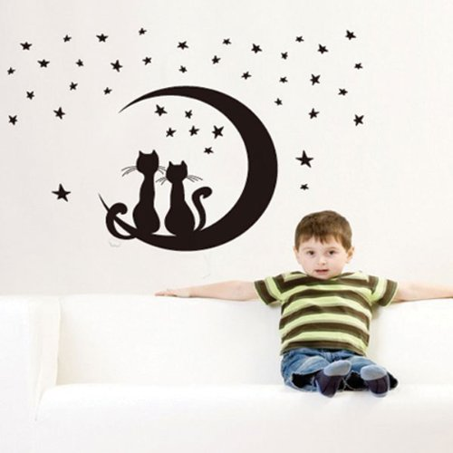 Chats assis sur la nouvelle lune, ciel étoilé sticker mural