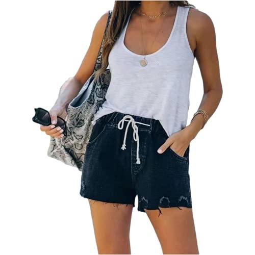 Pantalones Cortos de Mezclilla para Mujer Pantalones Cortos de Mezclilla de Cintura elástica con cordón Recto Informal Moda callejera de Verano S