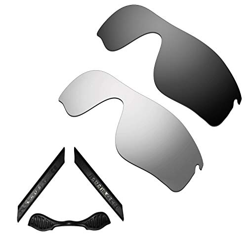 HKUCO For Oakley Radarlock Path Black/Silver Polarized Replacement Lenses And Black Earsocks Rubber Kit