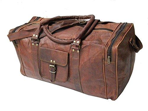 """Indian handmadecraft Vintage hombres de 24""""piel Duffle Overnight Bag Marrón marrón 24 inch duffle"""