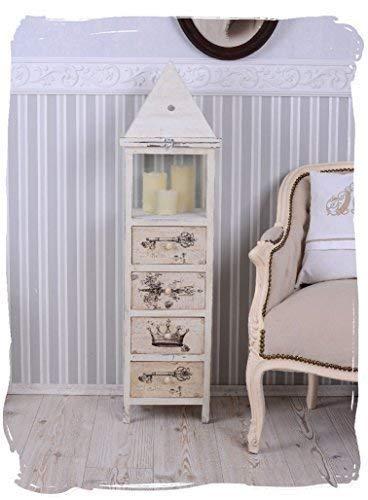 Vintage Kommode Laterne Shabby Chic Windlicht Säule Kerzensäule Weiss Palazzo Exklusiv