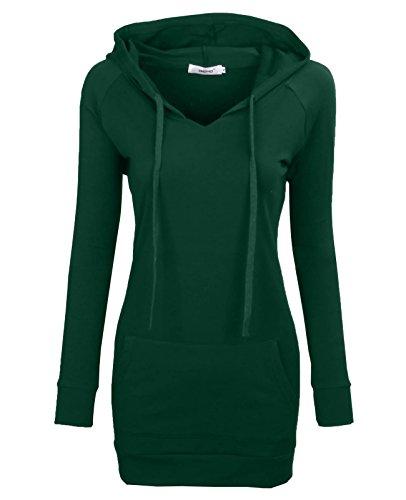 Bepei Womens Long Sleeve Tunic Sweatshirt String Hoodie With Pocket Green S