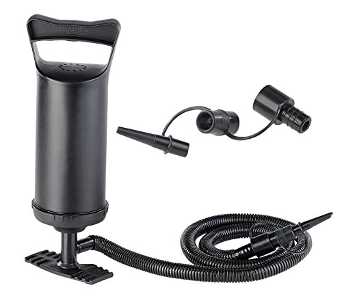 PEARL Handluftpumpe: Doppelhub-Hand-Luftpumpe mit 4 Auslass-Düsen, 2X 0,7 l Pumpleistung (Handpumpe)