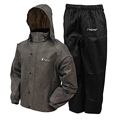 FROGG TOGGS Men's Classic All-Sport Waterproof Breathable Rain Suit, Stone Jacket/Black Pants, Large