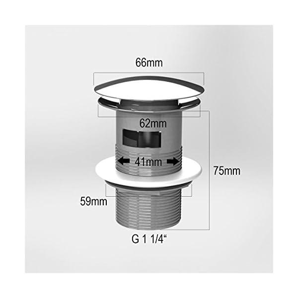 ATCO® PU19 – Válvula de desagüe con rebosadero, válvula de clic, sifón de desagüe, color blanco
