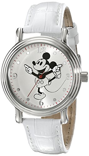 Disney Women's W001865 Mickey Mouse Watch with White Faux-Leather Band