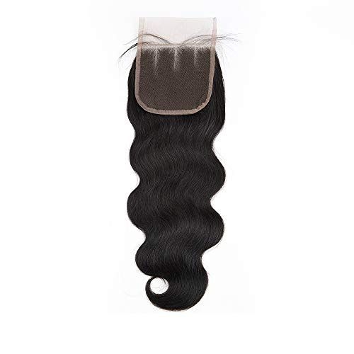Sedittyhair Brazilian Lace Closure Human Hair Body Wave Closure 4x4 Three Part Top Closure Bleached Knots With Baby Hair - 10 inch College school gift