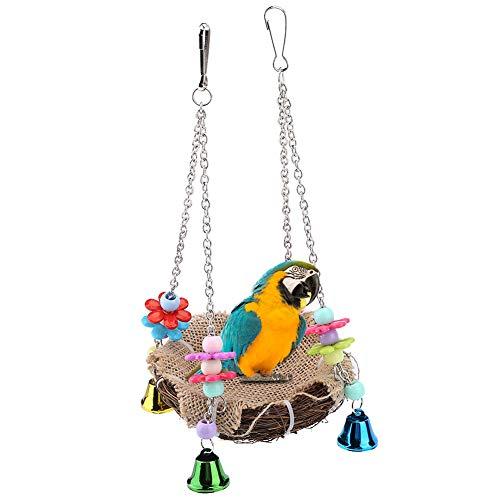 HEEPDD Maison Oiseaux perchoir Perroquet Oiseaux nid Perruche rotin balançoire Suspendue pour Perroquet avec Cloches Cage hamac pour cacatoès Macaw Amazone Africaine Perruche Gris (S)