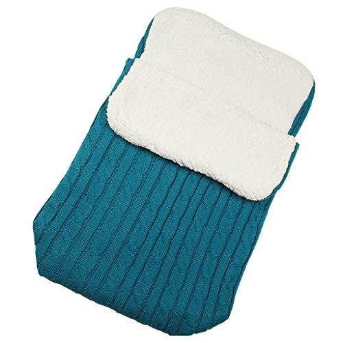Luccase Babyschlafsack 14,17 × 26,77 '' Acrylfasern und Baumwolle Baby Hooded Swaddle Knit Wrap Warme Decke Kinderwagen Schlafsack Steppdecken für 0-12 Monate Baby (Blau)