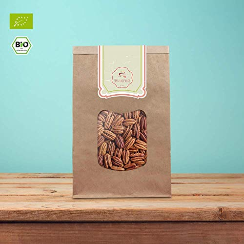 süssundclever.de® Bio Pekannusskerne | 500 g | Hälften| ungezuckert | plastikfrei und ökologisch-nachhaltig abgepackt