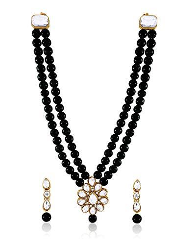 Aheli - Juego de collar y pendientes de cuentas de imitación Kundan para fiestas, bodas, joyería india de estilo Bollywood para mujer