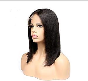 مستقيم قصير اليد تعادل الدنتلة الجبهة الاصطناعية شعر مستعار للنساء