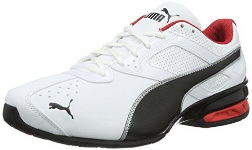 PUMA Herren Tazon 6 FM Laufschuhe, White Black Red, 43 EU