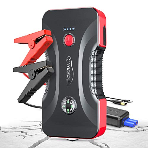 Car Jump Starter, YABER 800A 12800mAh Portable Battery Jump Starter (Up to 6.5L Gas/5.0L Diesel Engines), Compact Battery Booster Pack with Built-in Safety Hammer, LED Light, Compass, Dual USB Output