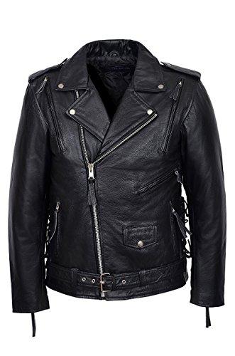 'Embossed RED Indian' Men's Black Motorcycle Biker Cowhide Leather Jacket (XL)