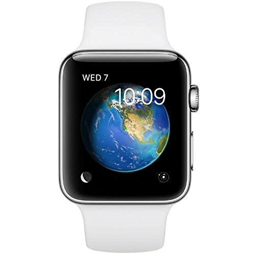 Apple Watch Series 2 (GPS, 38MM) - Stainless Steel Case with White Sport Band (Renewed)