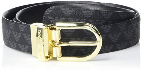 Emporio Armani Damen Belt with All Over Eagle Detail Gürtel, Schwarz/Schwarz/Schwarz, 60