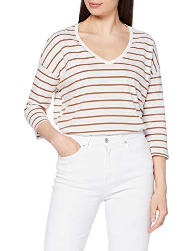 Tom Tailor Streifen T-Shirt Camiseta, 24809 Offwhite Camel Strip - Tira de Tela, Color Blanco, S para Mujer