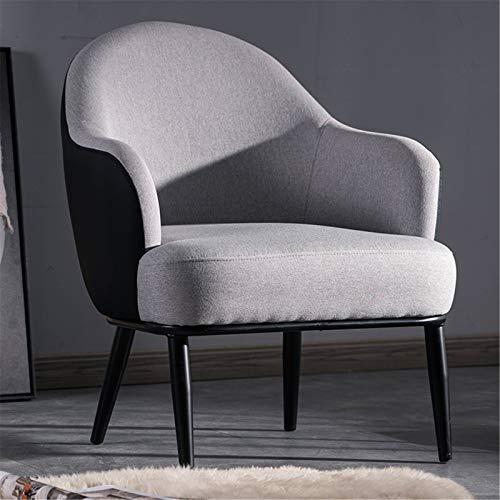 ALUNVA Leisure Lounge Stühle,Wohnzimmermöbel Sofa-seitenstuhl,Übergroßen Stoff Gepolsterter Sitz Mit Black Metal Frame Legs Wohnzimmerstühle-Hellgrau 51 * 58 * 84(cm)