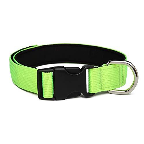 WEIZI Collar grande de nailon para perro grande, cómodo paño de buceo, cuello acolchado para mascotas, anillo de metal para perros pequeños, medianos y grandes (color verde fluorescente, tamaño: L)