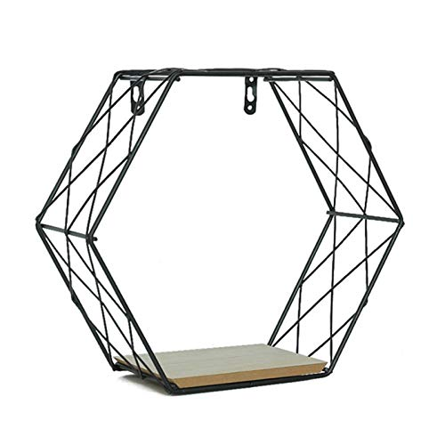 Waroomss Wandregal aus Metall, Metalldraht & Holzregal Regal Hexagon Design Wandregale Display Racks Home Dekoration