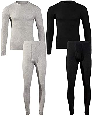 Beverly Hils Polo Club Men's Long Johns Waffle Thermal Underwear Base Layer Set (2 Full Sets), Black/Heather Grey, Large