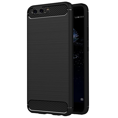 AICEK Cover Huawei P10, Nero Custodia Huawei P10 (5.1 Pollici) Silicone Molle Black Cover per Huawei P10 Soft TPU Case